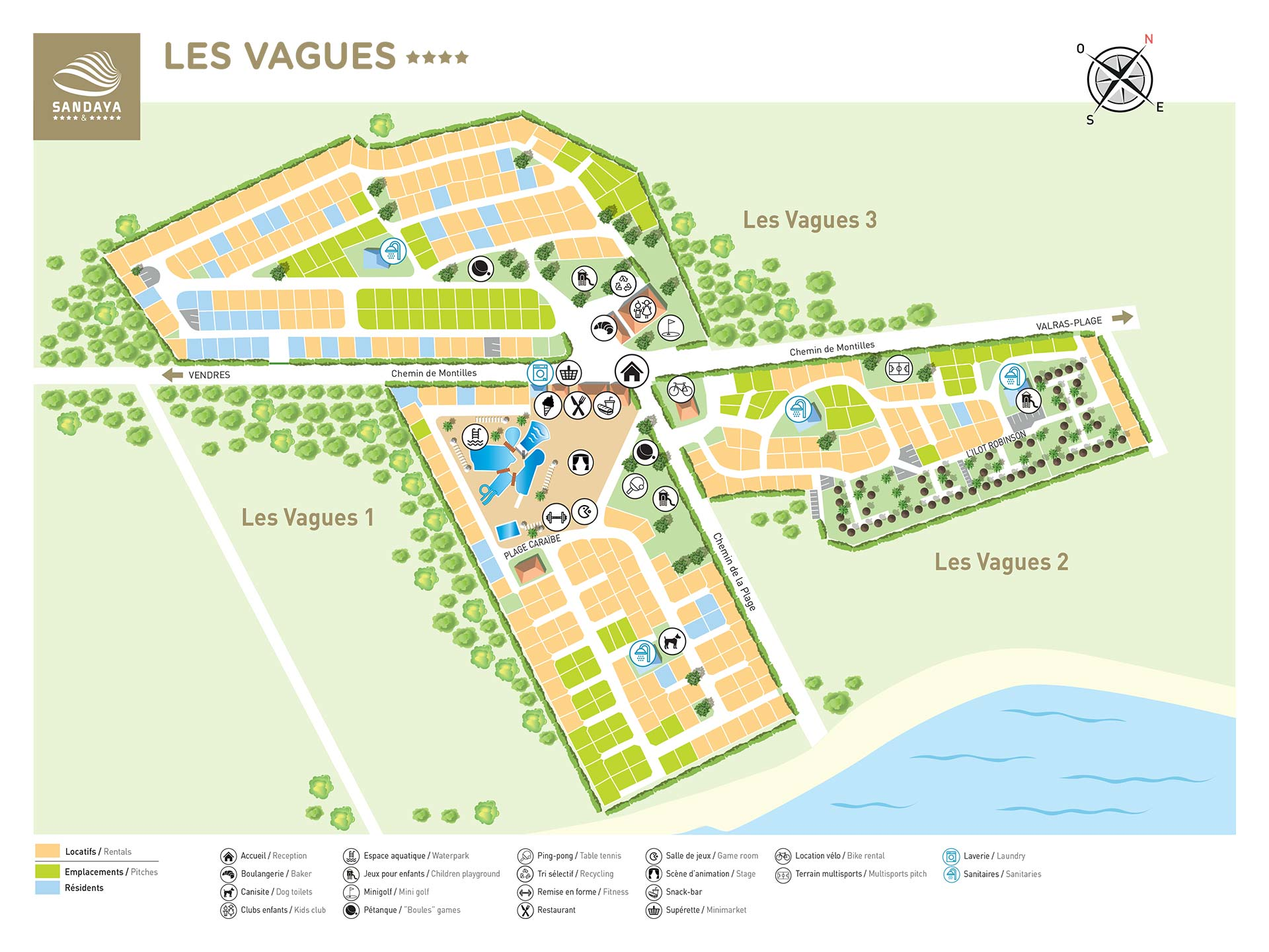 Plattegrond Camping Les Vagues
