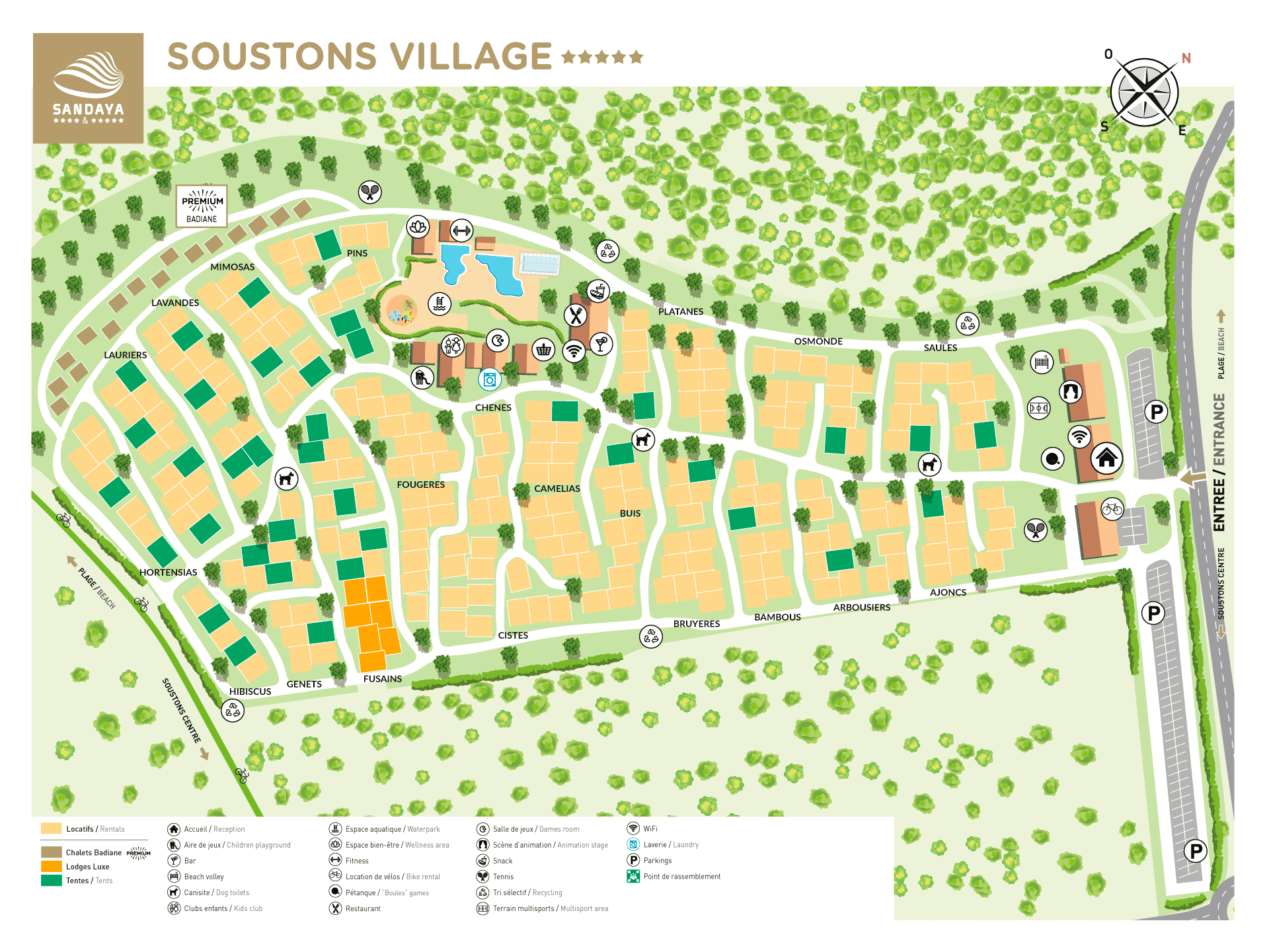 Plattegrond Camping Soustons Village